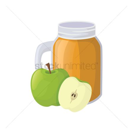 Jar : Green apple juice jar