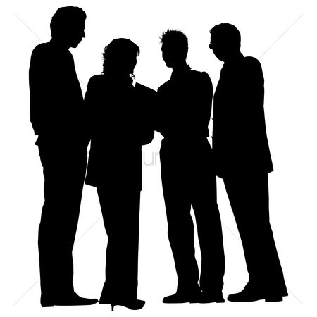 Standing : Group of business people standing silhouette