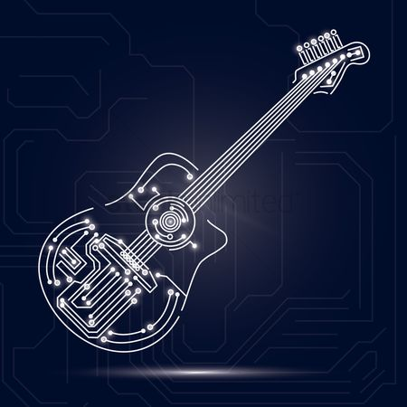 Electronic : Guitar design on circuit board background