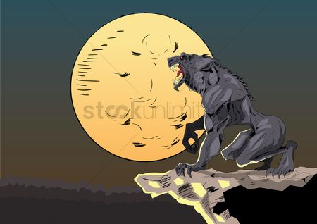 Houses : Halloween background with wolf