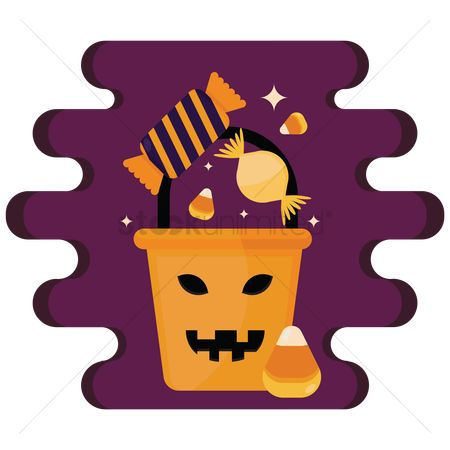 Jack o lantern : Halloween bucket of candies