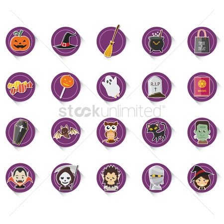 Broom : Halloween icons set
