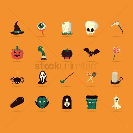 Confectionery : Halloween icons set