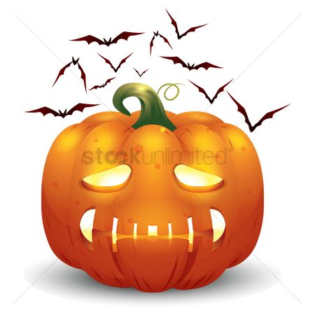 Jack o lantern : Halloween pumpkin and bats