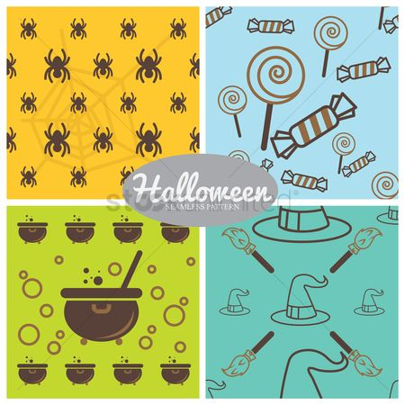 Broom : Halloween seamless pattern collection