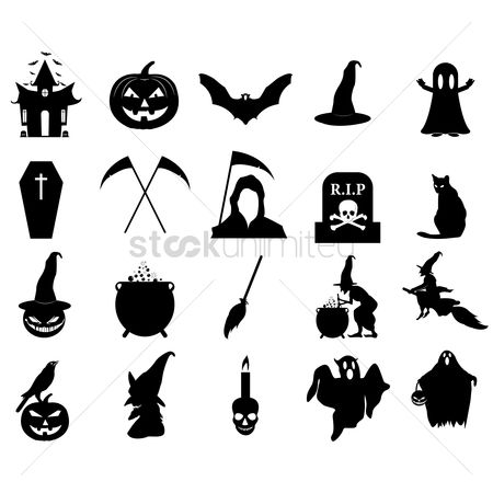 Bats : Halloween silhouette icons