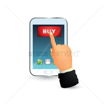 E commerces : Hand pressing buy button on mobile