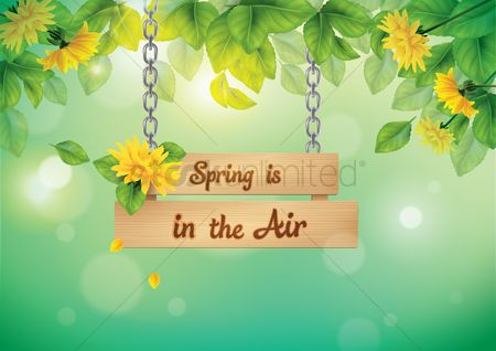 Spring : Hanging signboard with spring text