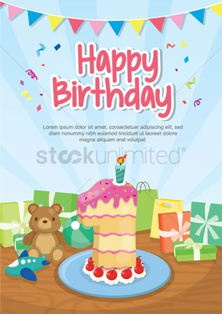 Teddybear : Happy birthday card