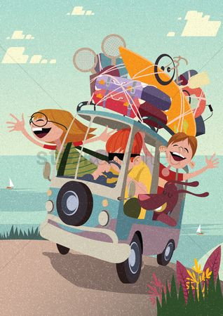 Journeys : Happy family on a road trip