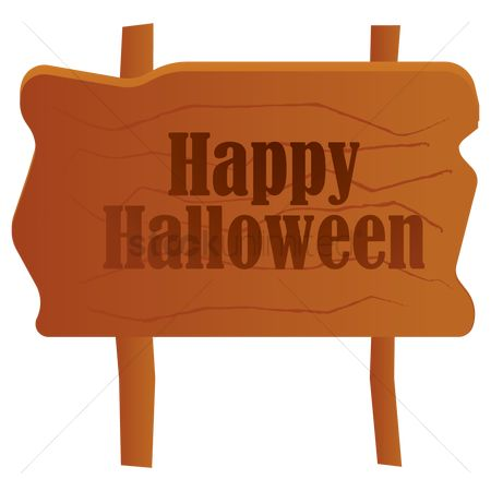 Wooden sign : Happy halloween signpost