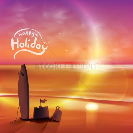 Seashore : Happy holiday wallpaper