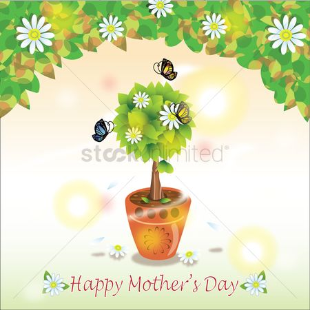 Flower pot : Happy mother s day greeting card