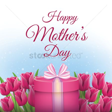 Boxes : Happy mothers day card with tulips and gift box