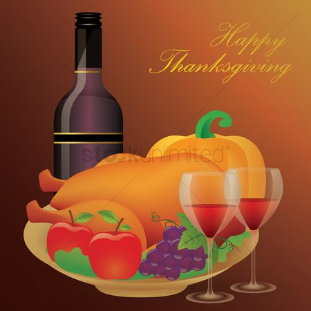 Grapes : Happy thanksgiving poster