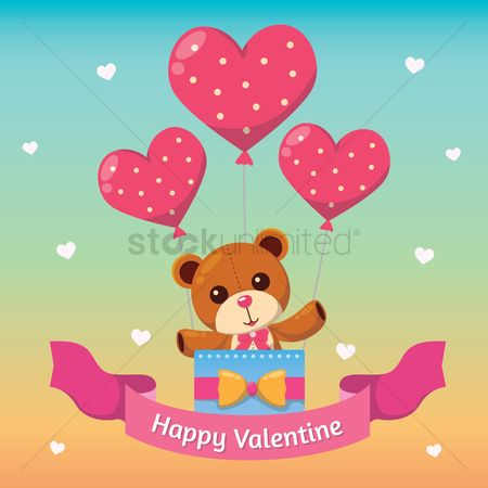Teddybear : Happy valentine card