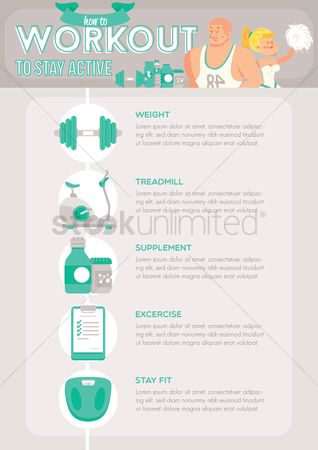 Dumb bell : Health and fitness infographic