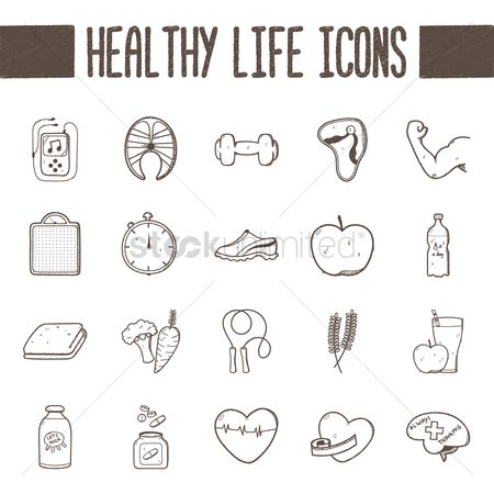 Lifestyle : Healthy life icons