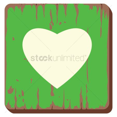 Wooden sign : Heart icon