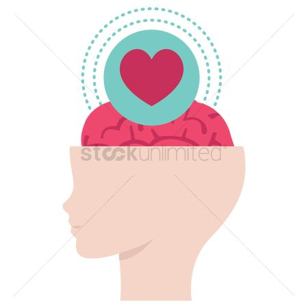 Heart : Heart shape with brain in head