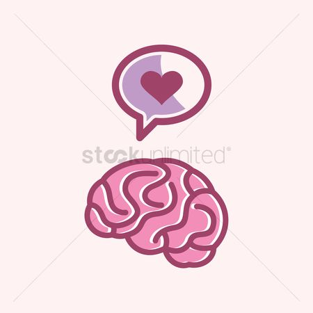 Love speech bubble : Heart speech bubble on brain