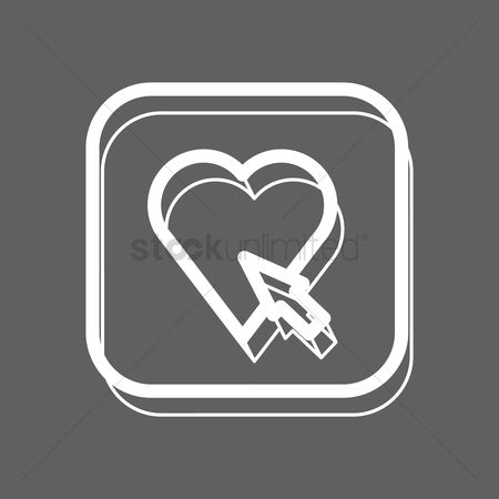 Online dating icon : Heart with cursor icon