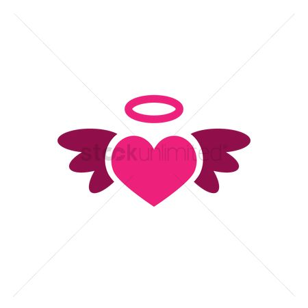 Halo : Heart with wing and halo