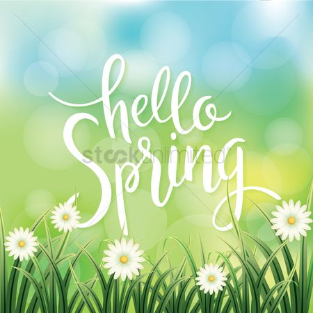 Grass background : Hello spring design