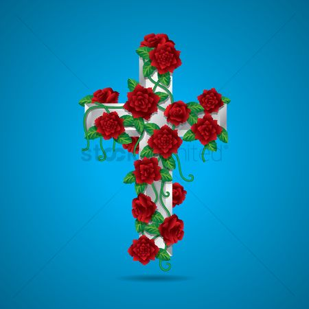 Christian : Holy cross with flowers