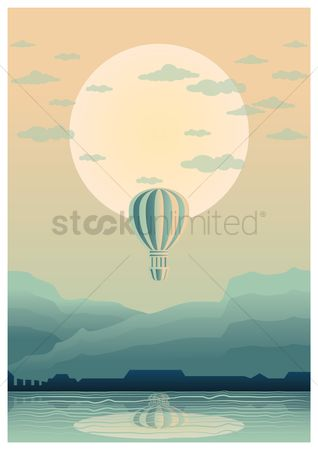 Moon : Hot air balloon poster