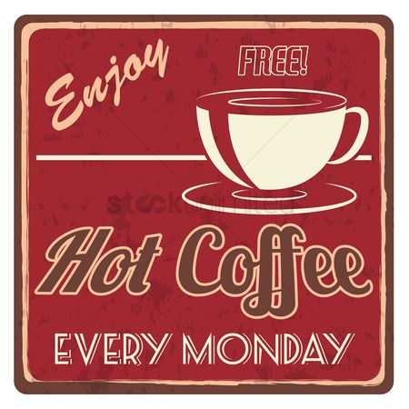 Monday : Hot coffee sticker