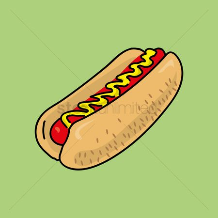 Lunch : Hot dog with mustard
