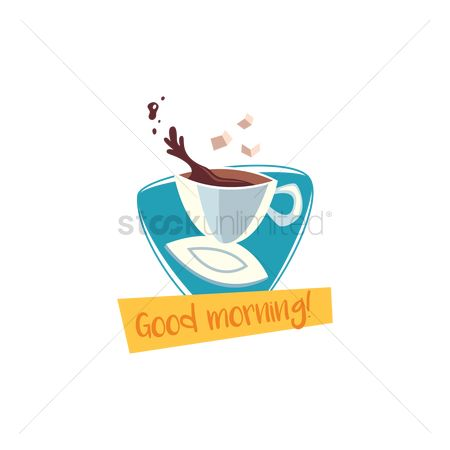Saucer : Hot drink with good morning text