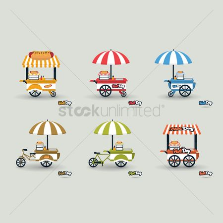 Food cart : Hotdog cart icons