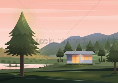 Architectures : House cabin by the lake