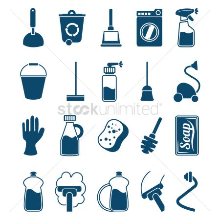 Cleaner : Household cleaning items icons