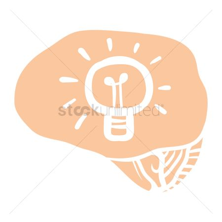 Halogen : Human brain with bulb