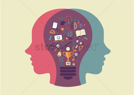 Magnifying : Human head and lightbulb with education icons