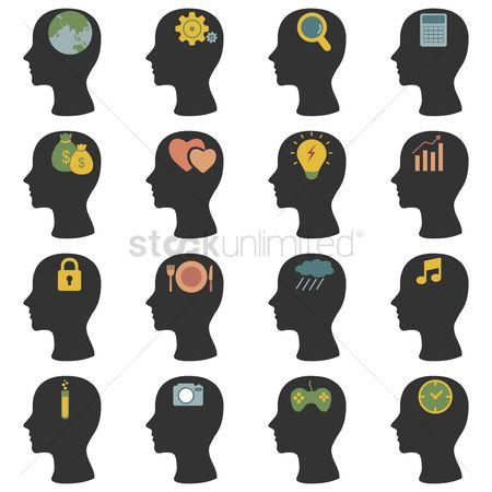 Contemplate : Human head silhouette icons