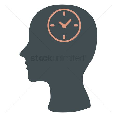 Imaginations : Human head silhouette with a clock