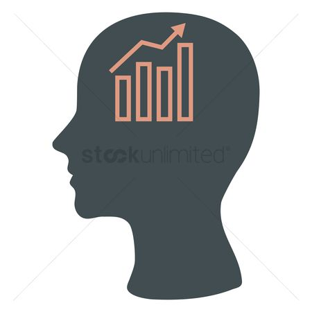 Imaginations : Human head silhouette with business growth graph