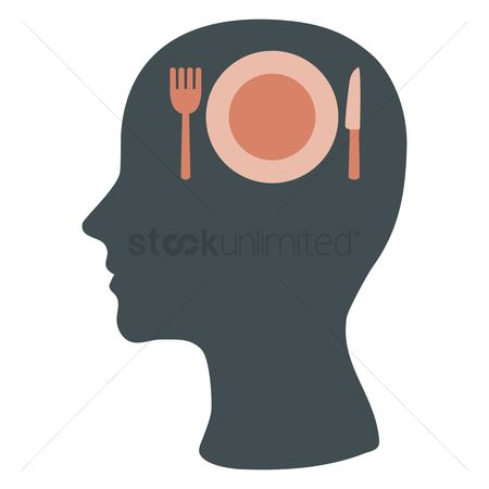 Imaginations : Human head silhouette with cutlery and a plate