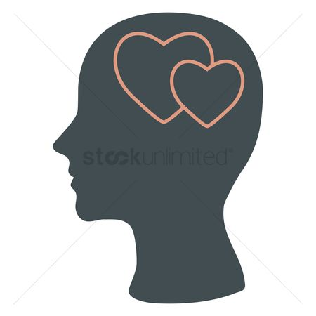 Imaginations : Human head silhouette with hearts