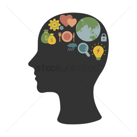 Calculator : Human head silhouette with various concepts