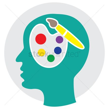 Palette : Human head with palette and brush
