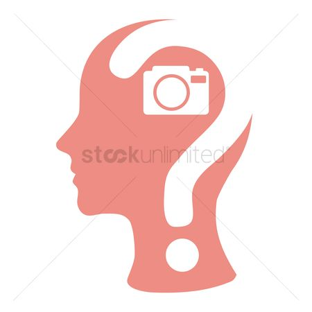 Imaginations : Human head with question mark and a camera