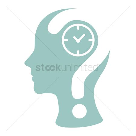Imaginations : Human head with question mark and a clock