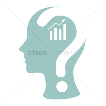 Profits : Human head with question mark and business growth