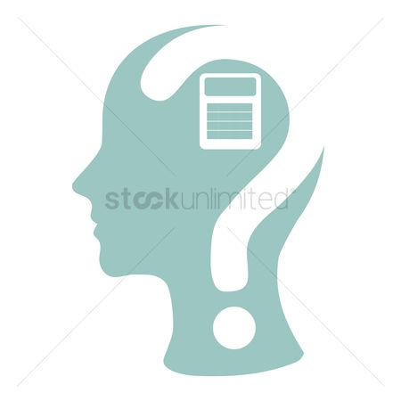 Calculations : Human head with question mark and calculator
