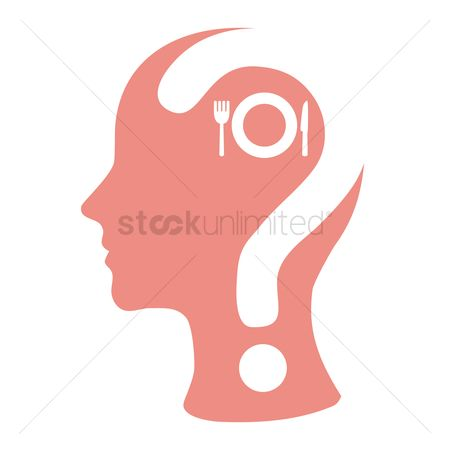 Imaginations : Human head with question mark  cutlery and a plate